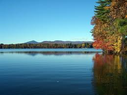 Fall Color Highlighted By Reflection on Maine Lakes